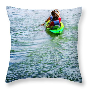 Boys Rowing Throw Pillow by Carlos Caetano
