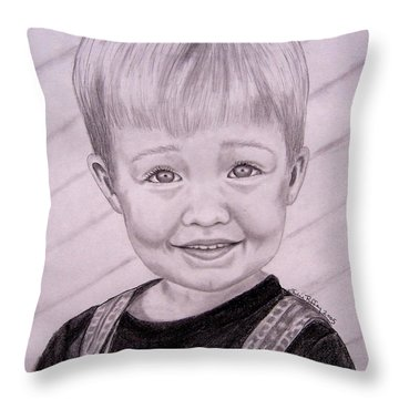 Throw Pillow featuring the drawing Brady by Julie Brugh Riffey
