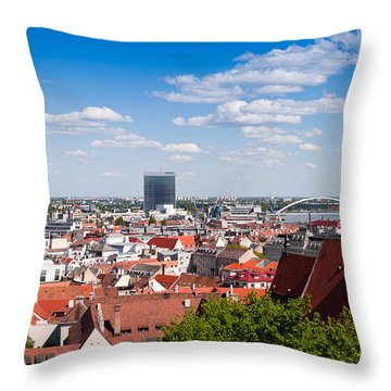 Throw Pillow featuring the photograph Bratislava Roofs by Les Palenik