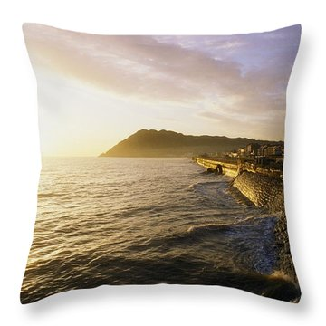 Bray Promenade, Co Wicklow, Ireland Throw Pillow by The Irish Image Collection