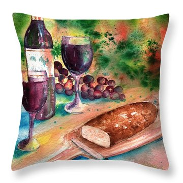 Bread And Wine Throw Pillow by Sharon Mick