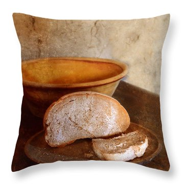 Bread On Rustic Plate And Table Throw Pillow by Jill Battaglia