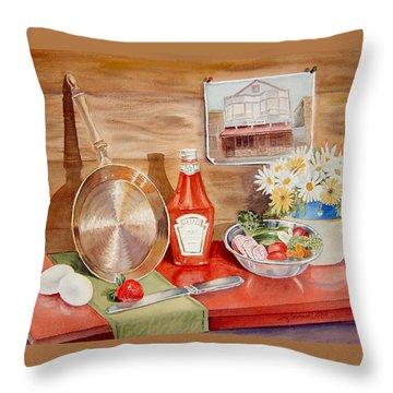 Breakfast At Copper Skillet Throw Pillow by Irina Sztukowski