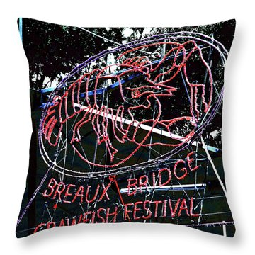 Breaux Bridge Crawfish Festival Throw Pillow
