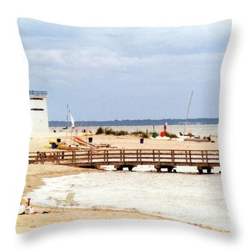 Breezy Point Bayside Frosted Glass Throw Pillow by Maureen E Ritter