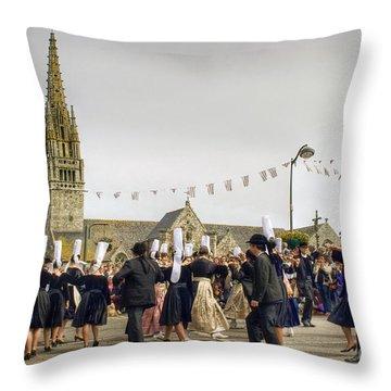 Breton Dancing Throw Pillow by Sophie De Roumanie