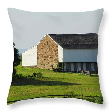 Brian Barn At Gettysburg Throw Pillow by Cindy Manero