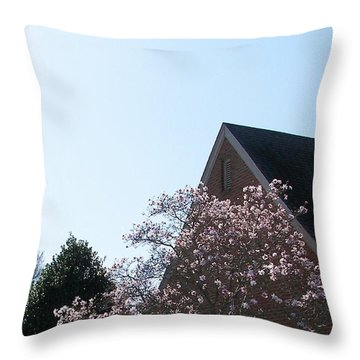 Throw Pillow featuring the photograph Brick And Blossom by Pamela Hyde Wilson