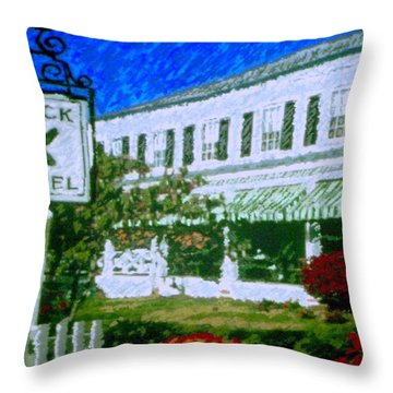 Brick Hotel Throw Pillow