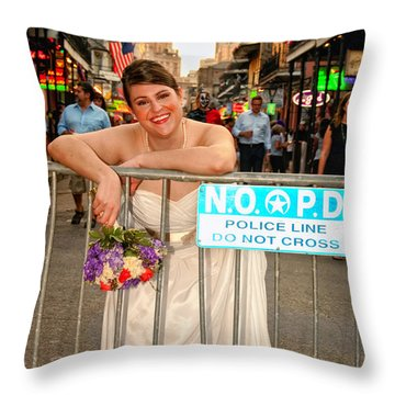 Bride And The Barricade On Bourbon Street Throw Pillow by Kathleen K Parker
