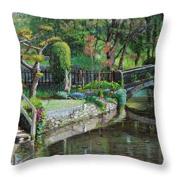 Bridge And Garden - Bakewell - Derbyshire Throw Pillow by Trevor Neal