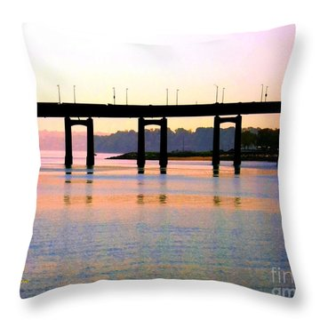 Bridge At Sunset Throw Pillow