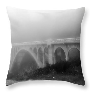 Bridge In Fog Throw Pillow by Katie Wing Vigil