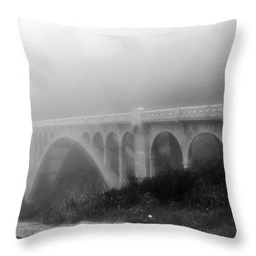 Bridge In Fog Throw Pillow