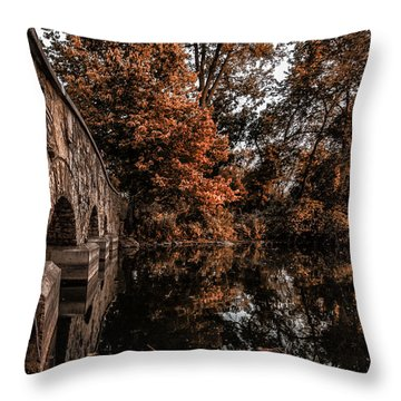Throw Pillow featuring the photograph Bridge To Autumn by Tom Gort