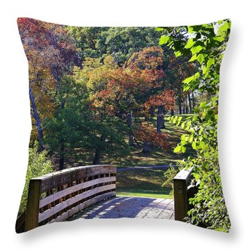Bridge To Sinnissippi Park Throw Pillow by Bruce Bley