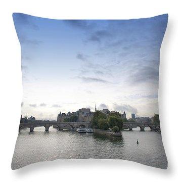 Bridges On River Seine. Paris. France Throw Pillow by Bernard Jaubert