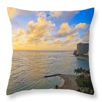 Bright Waikiki Sunset Throw Pillow by Tomas del Amo