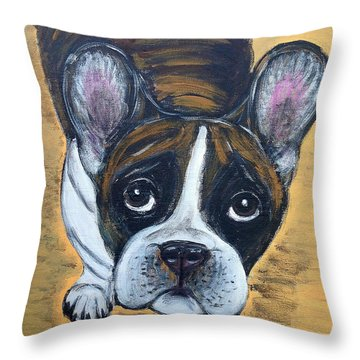 Brindle Frenchie Throw Pillow