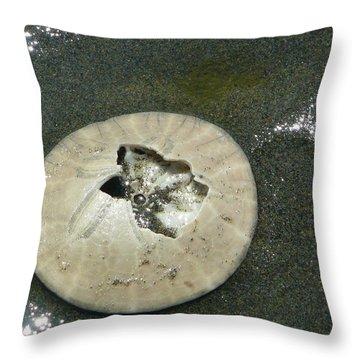 Broken Sand Dollar Throw Pillow by Lori Seaman