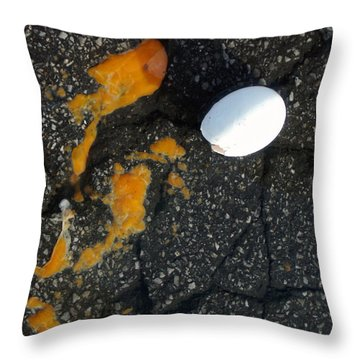 Broken White Egg And Orange Yolk On Black Ground Throw Pillow by Matthias Hauser