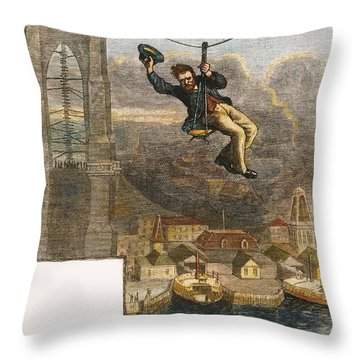Brooklyn Bridge Mechanic Throw Pillow by Granger