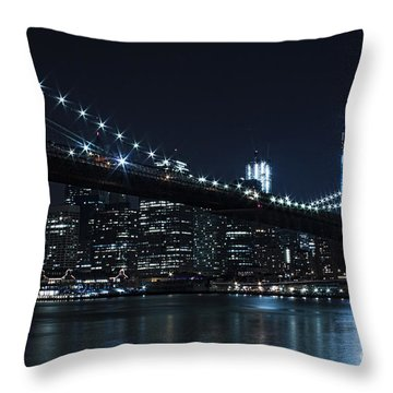Brooklyn Nights Throw Pillow by Andrew Paranavitana