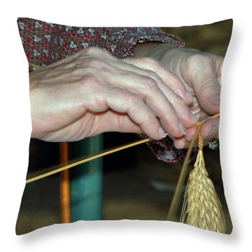 Throw Pillow featuring the photograph Broom Making by Wanda Brandon