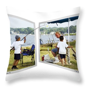 Brothers Fishing - Oof Throw Pillow by Brian Wallace