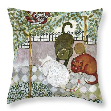 Brown And White Alley Cats Consider Catching A Bird In The Green Garden Throw Pillow