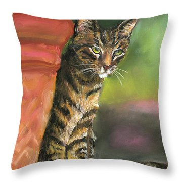 Brown Tabby Throw Pillow by Mary Jo Zorad