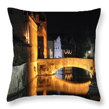 Bruge Night Throw Pillow by Milena Boeva