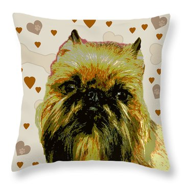 Brussels Griffen Throw Pillow by One Rude Dawg Orcutt