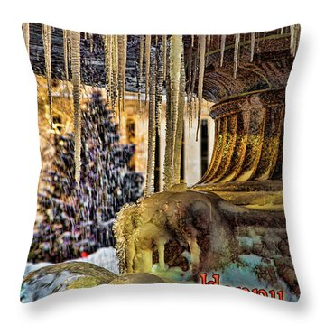 Bryant Park Fountain Holiday Throw Pillow by Chris Lord