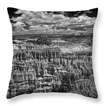 Bryce Canyon - Black And White Throw Pillow by Larry Carr