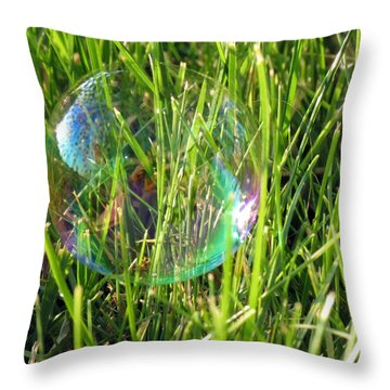 Throw Pillow featuring the photograph Bubble In The Grass by Darleen Stry