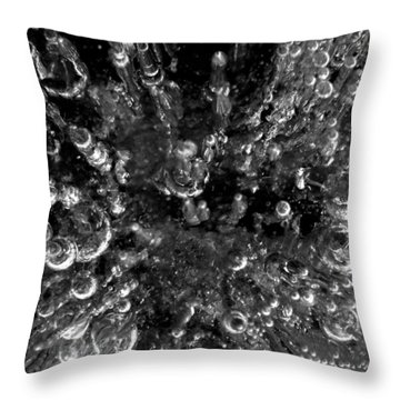 Bubble Towers Trapped In Ice Macro Image Throw Pillow by Adam Long