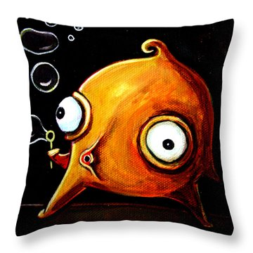 Throw Pillow featuring the painting Bubbles Glob by Leanne Wilkes