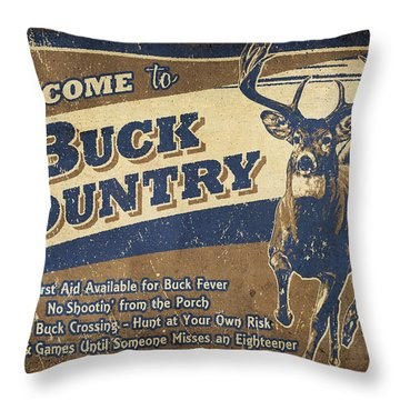 Buck Country Sign Throw Pillow
