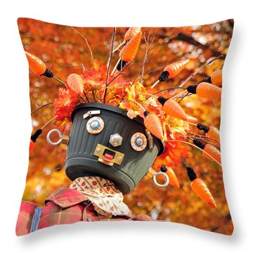 Bucket Head Throw Pillow by Mike Martin