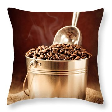 Bucket Of Coffee Beans Throw Pillow