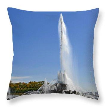 Buckingham Fountain - Chicago's Iconic Landmark Throw Pillow by Christine Till