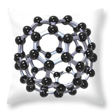 Buckminsterfullerene Or Buckyball C60 18 Throw Pillow by Russell Kightley