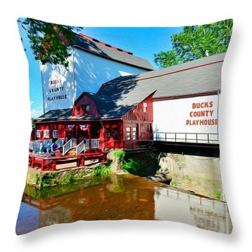Bucks County Playhouse Throw Pillow