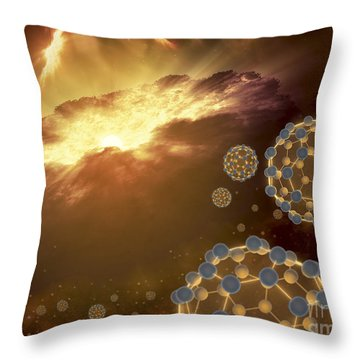Buckyballs Floating In Interstellar Throw Pillow by Stocktrek Images