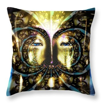 Buddha Blue Mandala Throw Pillow
