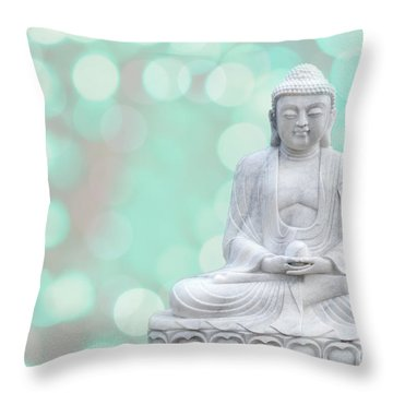 Buddha  Enlightment  Green Throw Pillow by Hannes Cmarits
