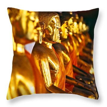 Throw Pillow featuring the photograph Buddhas by Luciano Mortula