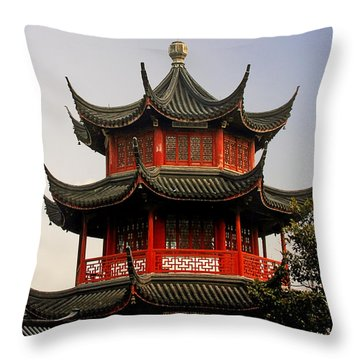Buddhist Pagoda - Shanghai China Throw Pillow by Christine Till