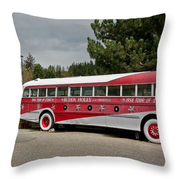 Buddy Holly 1958 Tour Of Stars Bus Art Prints Throw Pillow by Valerie Garner